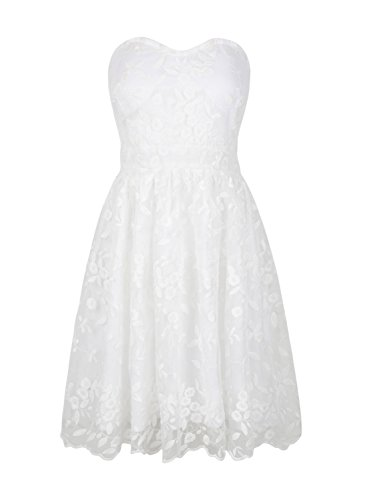 Joeoy Women's White Floral Lace Sweetheart Bodice Strapless Fit and Flare Short Dress-S