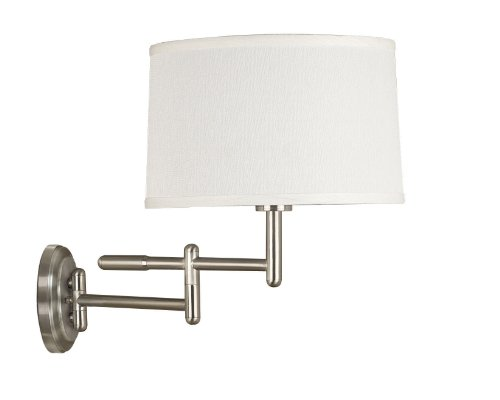 Theta Swing Arm Wall Lamp in Brushed Steel