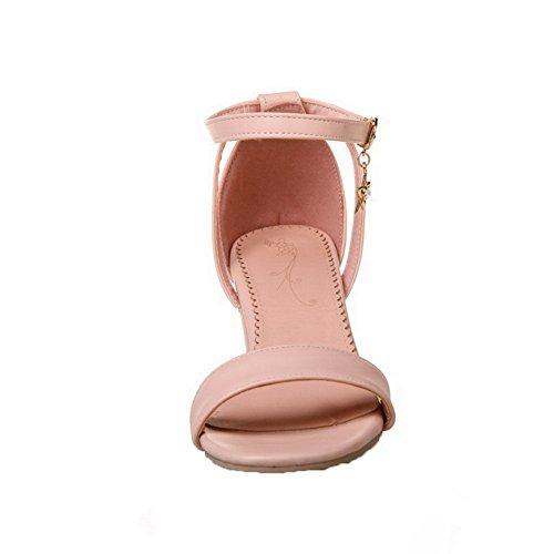 Boucle Unie TSFLG004930 Correct Rose Femme Couleur Talon PU Sandales Cuir à AalarDom IwgCqXw