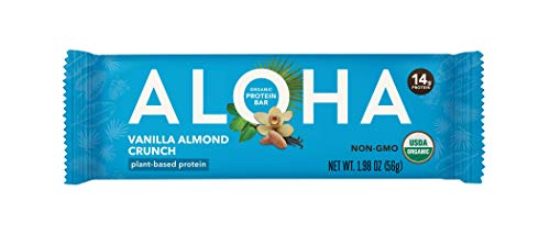ALOHA Organic Plant Based Protein Bar, Vanilla Almond Crunch, Vegan, 1.9 oz, 12 Bars