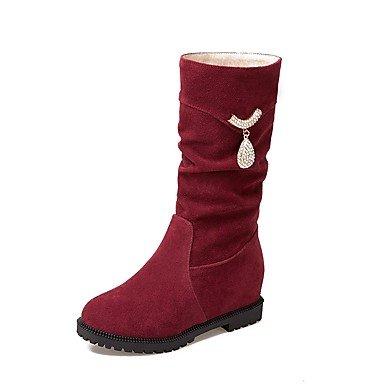 Heart&M Mujer Zapatos Cuero Nobuck Otoño Invierno Confort Botas Tacón Plano Dedo redondo Pedrería Para Negro Beige Wine Wine Red