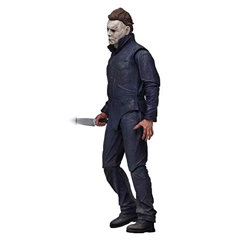 PLAYER-C Pumpkin with Led Light Halloween Ultimate Michael Myers Action Figure Collectable Model Toy Doll Gift -