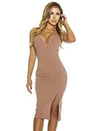 Forplay Womens Such a Sweetheart Bodycon Midi Dress Wired Neckline Detail