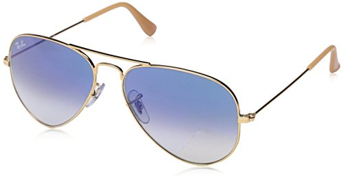Ray-Ban 3025 Aviator Large Metal Non-Mirrored Non-Polarized Sunglasses, Gold/Light Blue Gradient (001/3F), - Ban Frame Only Aviator Ray