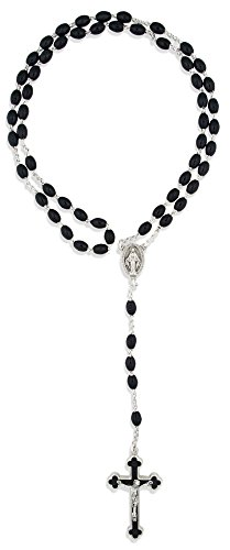 1 X Italian Rosary with Black & Silver Cross and Oval Beads in Box