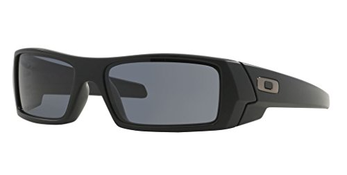 Oakley Men's Gascan Rectangular Sunglasses, Matte Black /Grey, 60 - Impact Resistant Sunglasses
