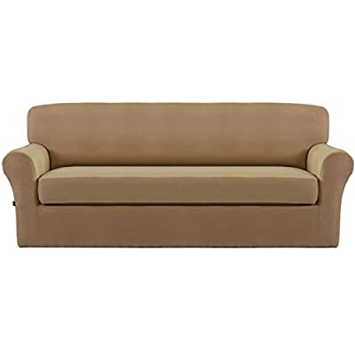 Easy-Going Stretch Micro Suede silpcovers,2pieces Sofa Covers,Furniture Protector with Elastic Bottom,Anti-Slip Foam,2Piece Couch Shield,Super Soft Fabric slipcovers