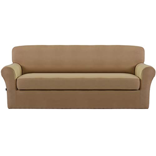 Easy-Going Stretch Micro Suede Sofa silpcovers,2 Piece Sofa Covers,Furniture Protector with Elastic Bottom,2 Piece Couch Shield,Super Soft Fabric Couch slipcovers(Sofa, Camel)