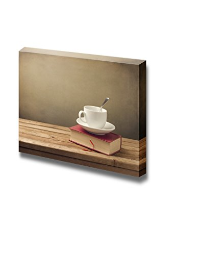 Cup of Coffee and Book on Wooden Table Wall Decor ation