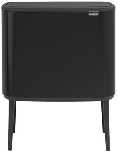 Brabantia Bo Touch Bin with Plastic Buckets, 3 x 11 L-Matt Black, Steel 3 Inner