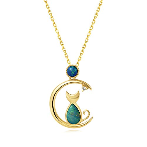 (AGVANA 18K Solid Yellow Gold Diamond Real Genuine Natural Fire Opal Cat and Moon Pendant Necklace Fine Jewelry Gifts for Women Girls 16