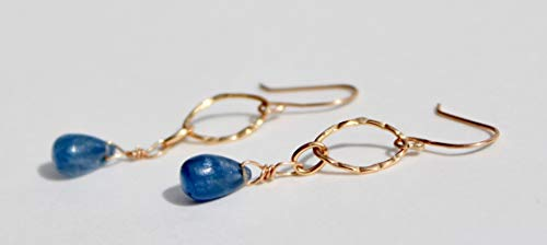 14K gold earrings with tanzanite pear drops and elongated hammered gold circles