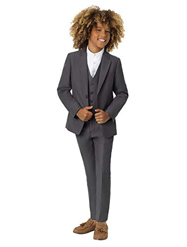 - Roco Boys Gray Modern Fit Suit, 3 Piece Wedding Suit, Jacket, Vest & Pants Set, 14