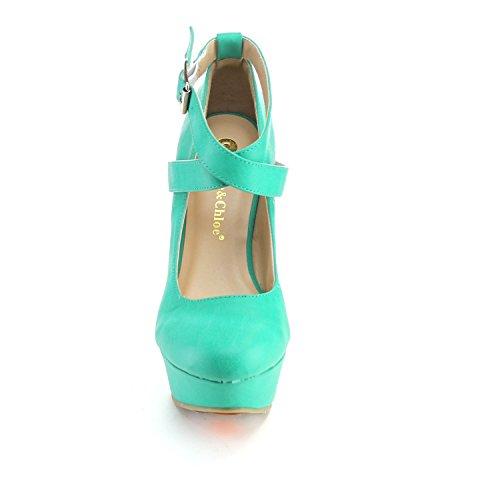 Chase & Chloe Orlando-en Womens Metallspenne Strappy Kile Sandaler Pumper, Farge: Sjøgrønn, Størrelse: 8,5