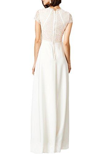 WOOSEA Women's Retro Floral Lace Wedding Maxi Bridesmaid Long Dress (Medium, White)