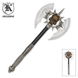 Ace Martial Arts Supply Death's Head Skull Fantasy Battle Axe with (Skull Weapons)