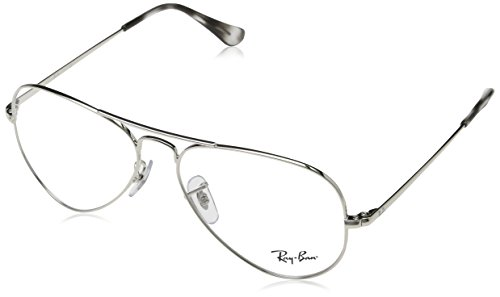 Ray-Ban RX6489 Aviator Metal Eyeglass Frames, Silver/Demo Lens, 55 mm