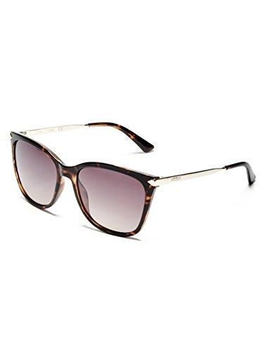 GUESS Women's Gu7483 Cateye Sunglasses, dark havana & brown mirror, 56 mm