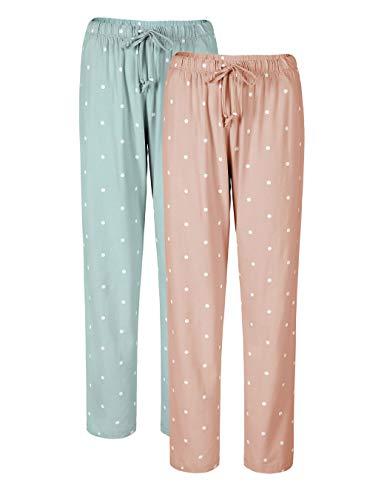 Genuwin Women's Cotton Pajama Pants Casual Pocket Lounge Pants Sleep Pajama Bottoms 2 Pack S~XL (Baby Pink Polka Dot+ Moonlight Blue Polka Dot, Large)