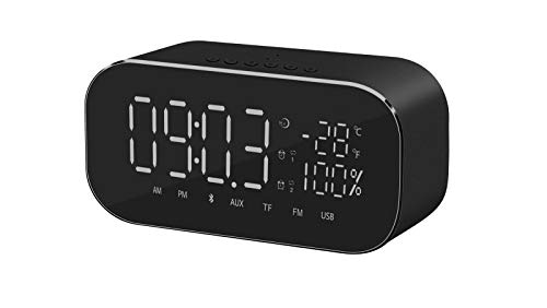 FOREV LED Alarm Clock Radio for Bedroom, Digital Clock Can Be Used as Wireless Bluetooth Speakers, Charged by USB,Showing Time,Power and Temperature on LED Screen (Back)