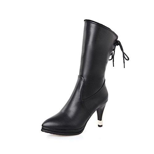 VogueZone009 Damen Schnüren Mittler Absatz Blend-Materialien Rein Spitz Zehe Stiefel, Schwarz, 34