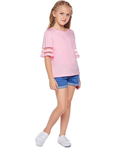 Arshiner Girls Casual Tunic Tops Shirts Kids Short Sleeve Blouse T-Shirt Size 4-13 Years 3