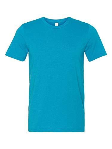 Canvas 3650 Unisex Poly-Cotton Short-Sleeve T-Shirt, Neon Blue, Large