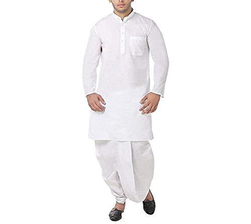 Dhoti Kurta (FOCIL White Cotton Dhoti & Kurta Set For Mens)