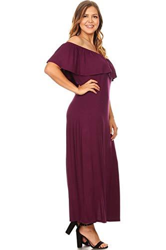 - Vibe Sportswear Plus Size Off Shoulder Ruffle Maxi Dress (Raisin, XXXXX-Large)
