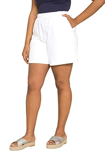 Roamans Women's Plus Size Soft Knit Shorts - White, 1X ()