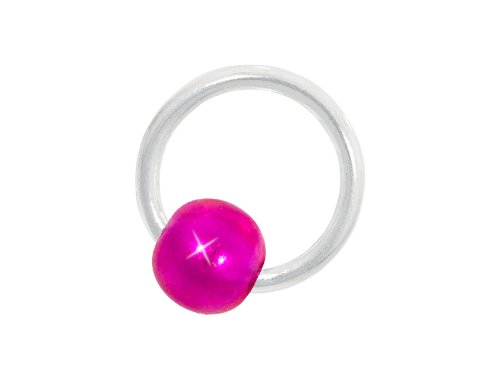 Nagelpiercing Creole silber mit Kugel pink - 925 Sterling Silber - Nageldesign Nailart Finger Fuß Nagel Piercing nd24