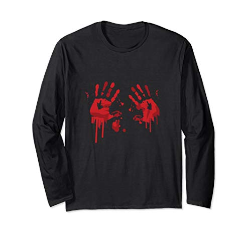 Bloody Hand-Prints Valentine Halloween Butcher Costume Top Long Sleeve T-Shirt