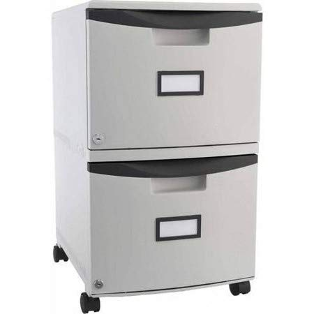 2-Drawer Mobile File Cabinet with Locking Casters (Gray/Black) by BLOSSOMZ