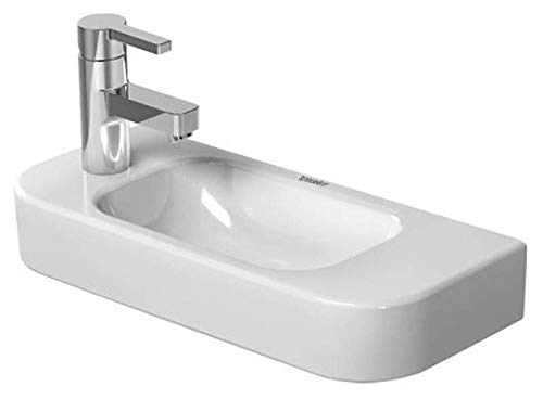 Handrinse Basin - Happy D.2 Handrinse basin with overflow, with tap platform, overflow clip chrome included, 19 5/8