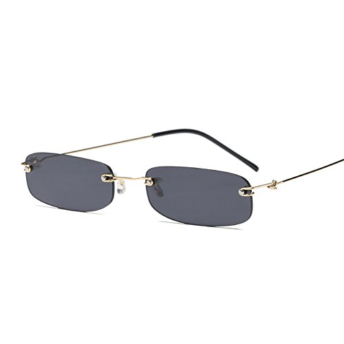 Narrow Sunglasses Tiny Rectangle Rimless Sun Glasses Unisex 2018 Hot Sale (gold with black) ()