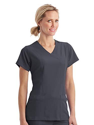 (Jockey 2306 Women's Classic Fit Mock Wrap Scrub Top - Comfort Guaranteed Charcoal XL)