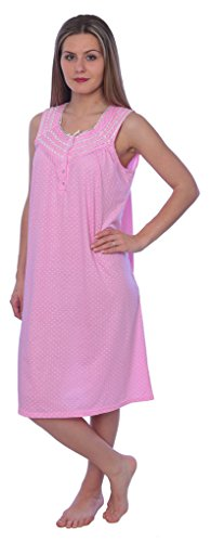 - Beverly Rock Women's Solid with Dots Sleeveless Knit Nightgown RQ118 Pink XL