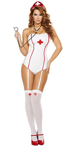 Sexy Nurse Jackie Halloween Costume - White/Red - Small/Medium