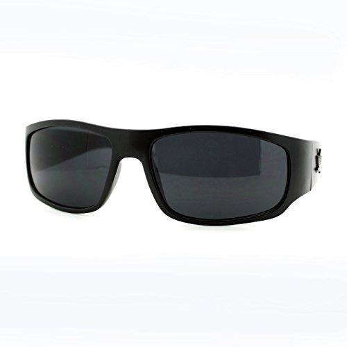 UV400-Protection-Mens-Sunglasses-Oval-Rectangle-Wrap-Marijuana-Leaf-Matte-Black