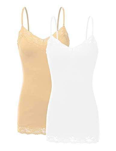 RT1004 Pack Ladies Adjustable Spaghetti Strap Lace Tunic Camisole 2Pack-WHT/Taupe ()
