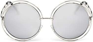 SojoS SJ1005 Double Circle Round Mirror Lenses Shiny Metal Women Sunglasses
