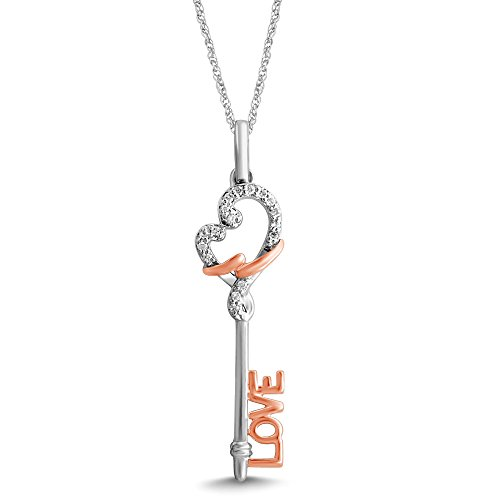 Diamond Jewel 10K Two Tone 1/10 ct Diamond Key and Heart ''Love'' Pendant Necklace by Diamond Jewel