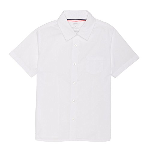 French Toast Big Girls' Short Sleeve Pointed Collar with Pocket Shirt, White, 10 -