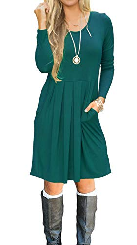 AUSELILY Women's Long Sleeve Pleated Loose Swing Casual Dress with Pockets Knee Length (M, Dark Green)