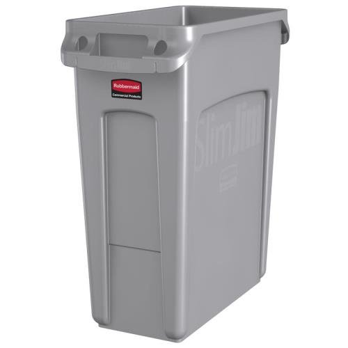Rubbermaid Slim Jim Waste Container with Handles, 60 L - Grey ()