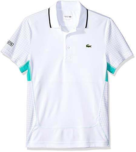 Lacoste Men's Short Sleeve Ultra Dry Net Print Flatlock Polo, White/Armour-Papeete-Ment, Large