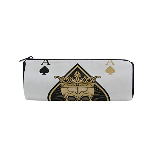 The Skeleton of Spade Trump in Poker Students Super Large Capacity Barrel Pencil Case Pen Bag Cotton Pouch Holder Makeup Cosmetic Bag for Kids]()