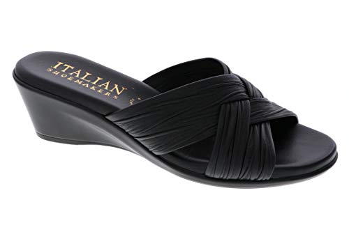 ITALIAN Shoemakers Womens Saylor Wedge Sandal (9.5 M US, Black) ()