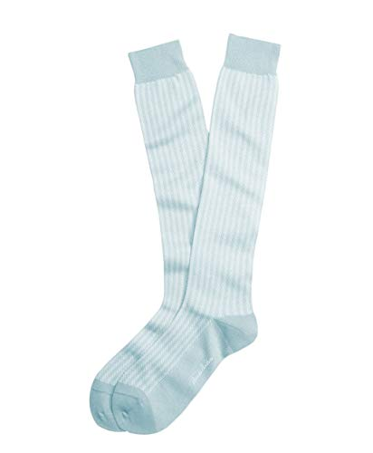 Brook Brothers Men's Cotton Blend Over The Calf Herringbone Pastel Dress Socks (7-12) (Pastel Blue)