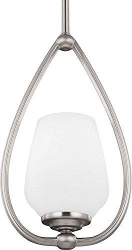 - Feiss P1329SN Vintner Glass Pendant Lighting, Satin Nickel, 1-Light (7